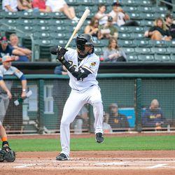 Salt Lake Bees' Jo Adell in the batter's box at Smith's Ballpark in Salt Lake City.