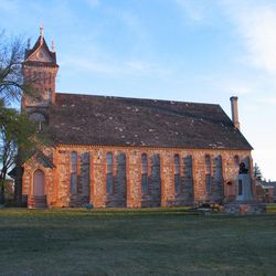 Designed by Joseph Don Carlos Young, the Bear Lake Tabernacle in Paris, Idaho, is made of stone hauled 18 miles from quarry on southeast corner of Bear Lake.