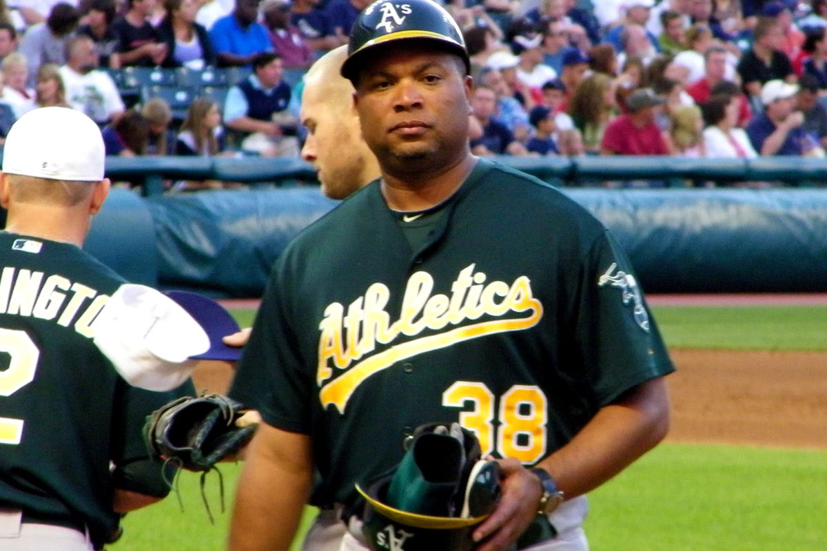 Todd Steverson as Oakland's first base coach in 2010.