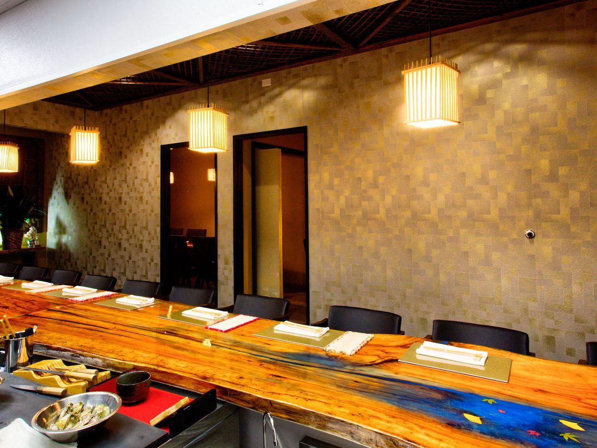 The chef's table at Kaiseki Yuzu