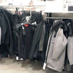 Next, the untouched at the Beverly Center. There's a full stack of shoes; like WeHo, plenty of parkas and outerwear. Expect to find a few yoga mats and a ton of the leather pants here.