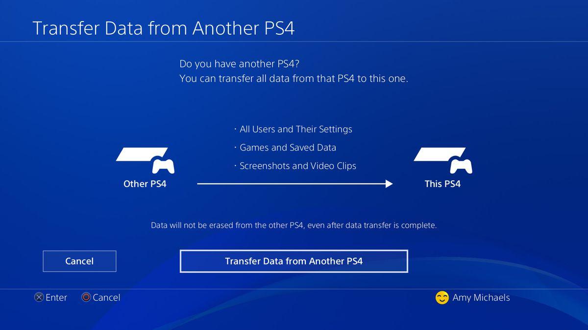 PS4 Pro data transfer