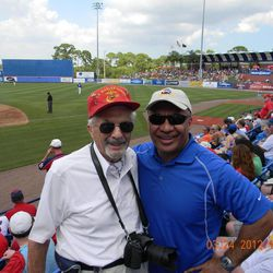 Marty Klein and Vai Sikahema, former hometeaching companions, reunited after 35 years, at the New York Mets spring training game three weeks ago.