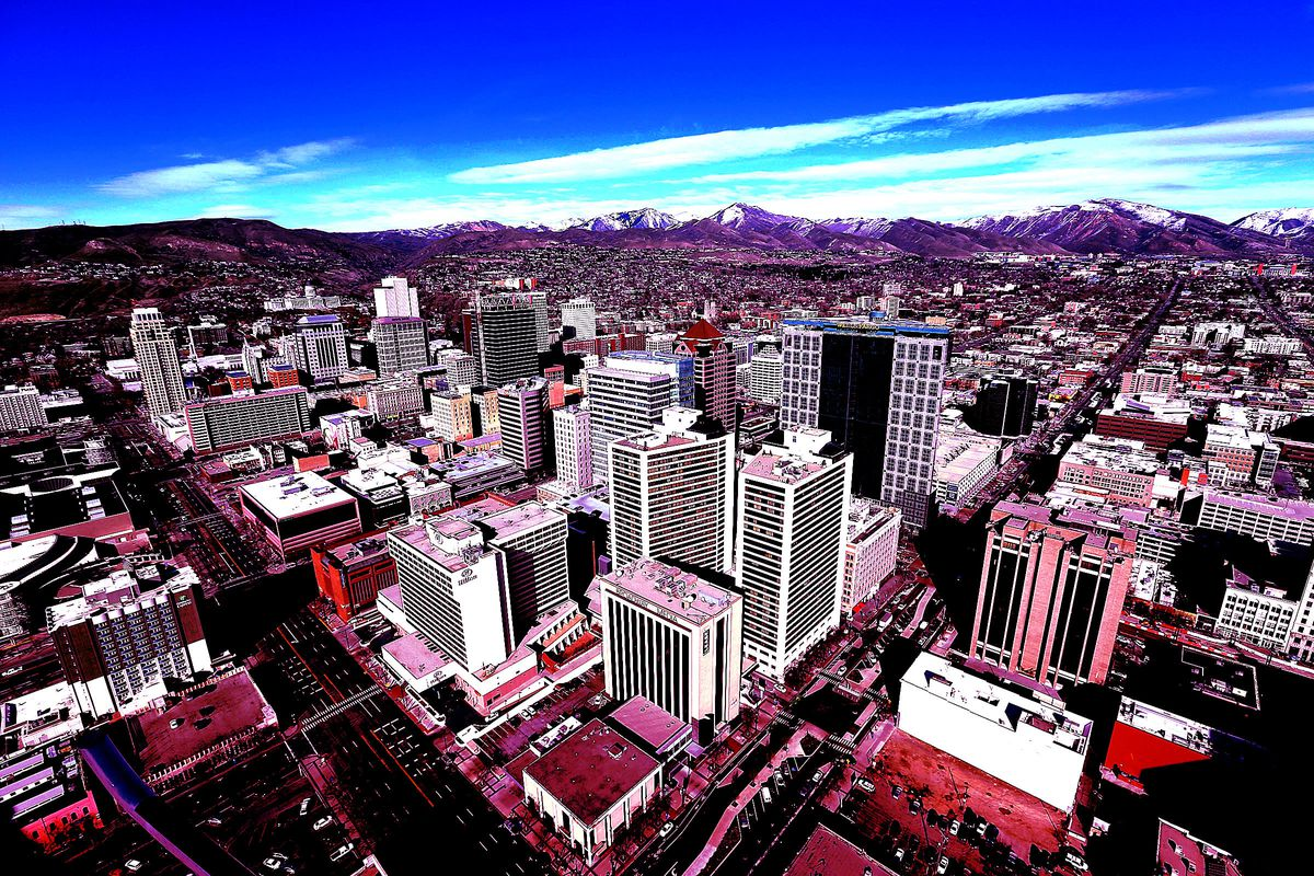 Aerial view of Salt Lake City, Wednesday, March 9, 2016. The Salt Lake City metro area is on the verge of significant economic expansion in the coming years, an analyst told business leaders Wednesday.
