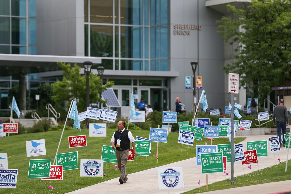 People gather for the Utah Democratic Party State Organizing Convention at Weber State University in Ogden on Saturday, June 17, 2017.