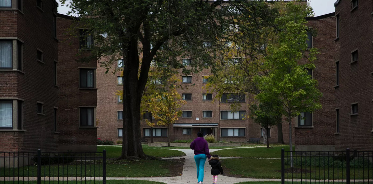 The Parkway Garden apartments at 64th Street and South Dr. Martin Luther King Drive.