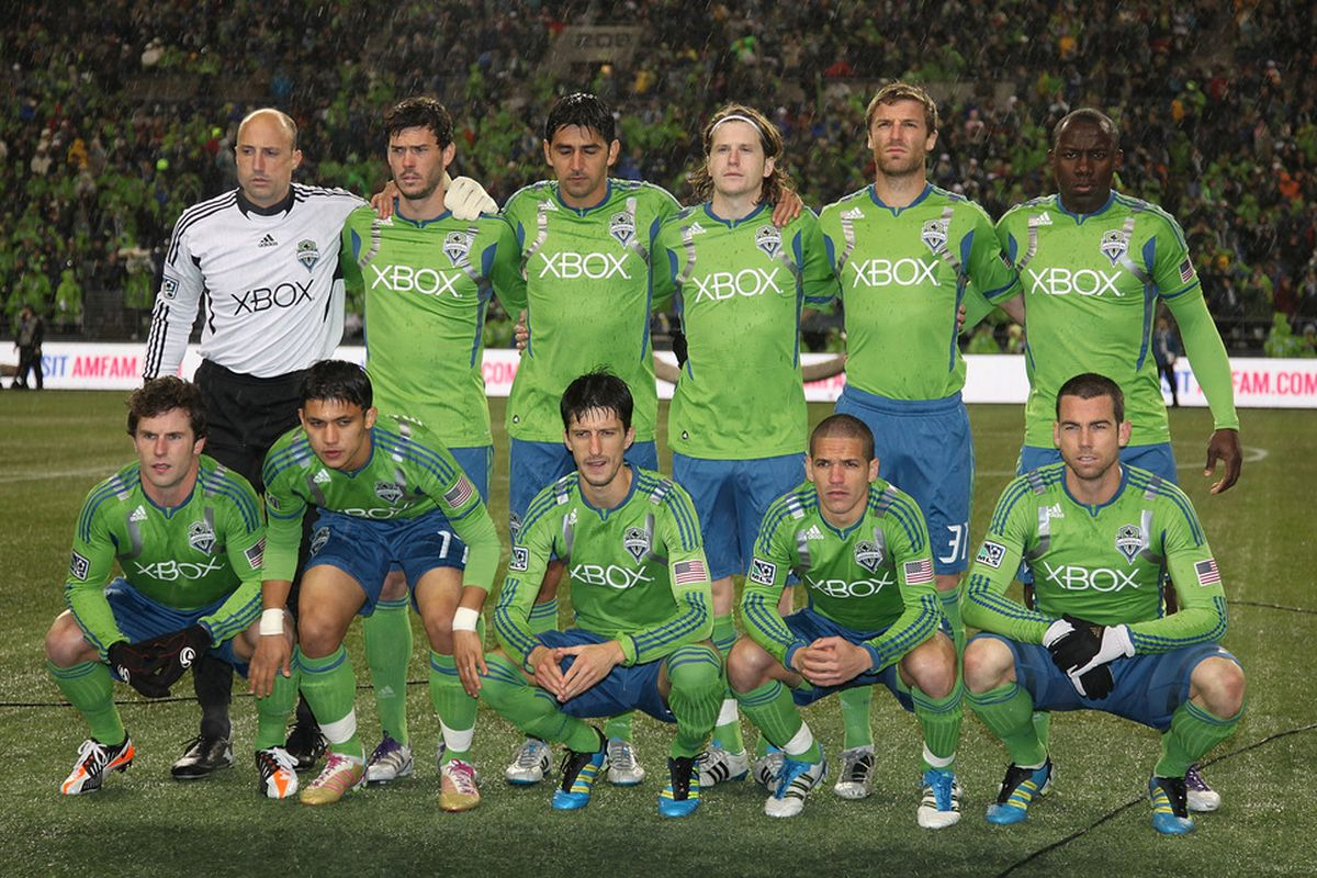 SEATTLE - NOVEMBER 02:  Members of the Seattle Sounders FC pose for the team photo prior to the match against Real Salt Lake at CenturyLink Field on November 2, 2011 in Seattle, Washington. (Photo by Otto Greule Jr/Getty Images)