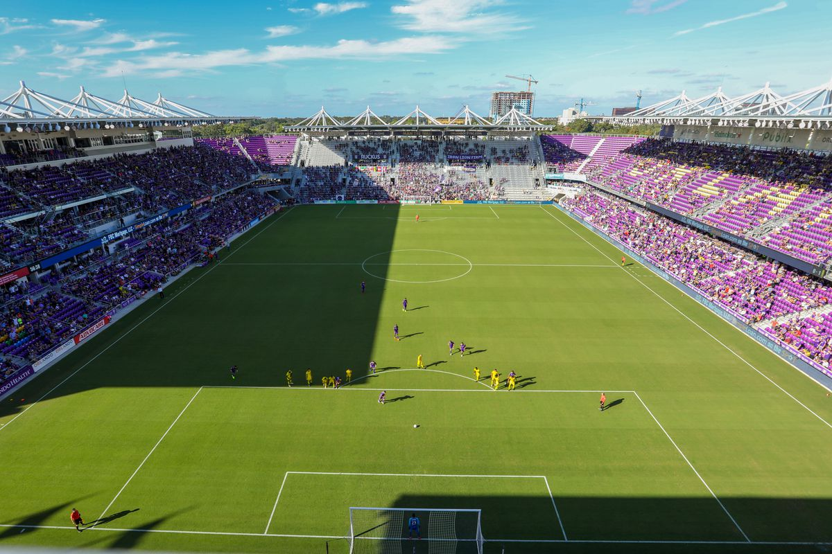 A general view of Orlando City Stadium during the soccer match between the visiting Columbus Crew and the Orlando City Lions on October 21, 2018, at Orlando City Stadium in Orlando, FL.