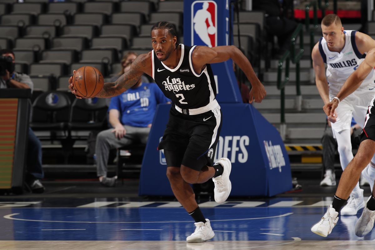 Kawhi Leonard #2 of the LA Clippers dribbles the ball during the game against the Dallas Mavericks during Round 1, Game 3 of the 2021 NBA Playoffs on May 30, 2021 at the American Airlines Center in Dallas, Texas.