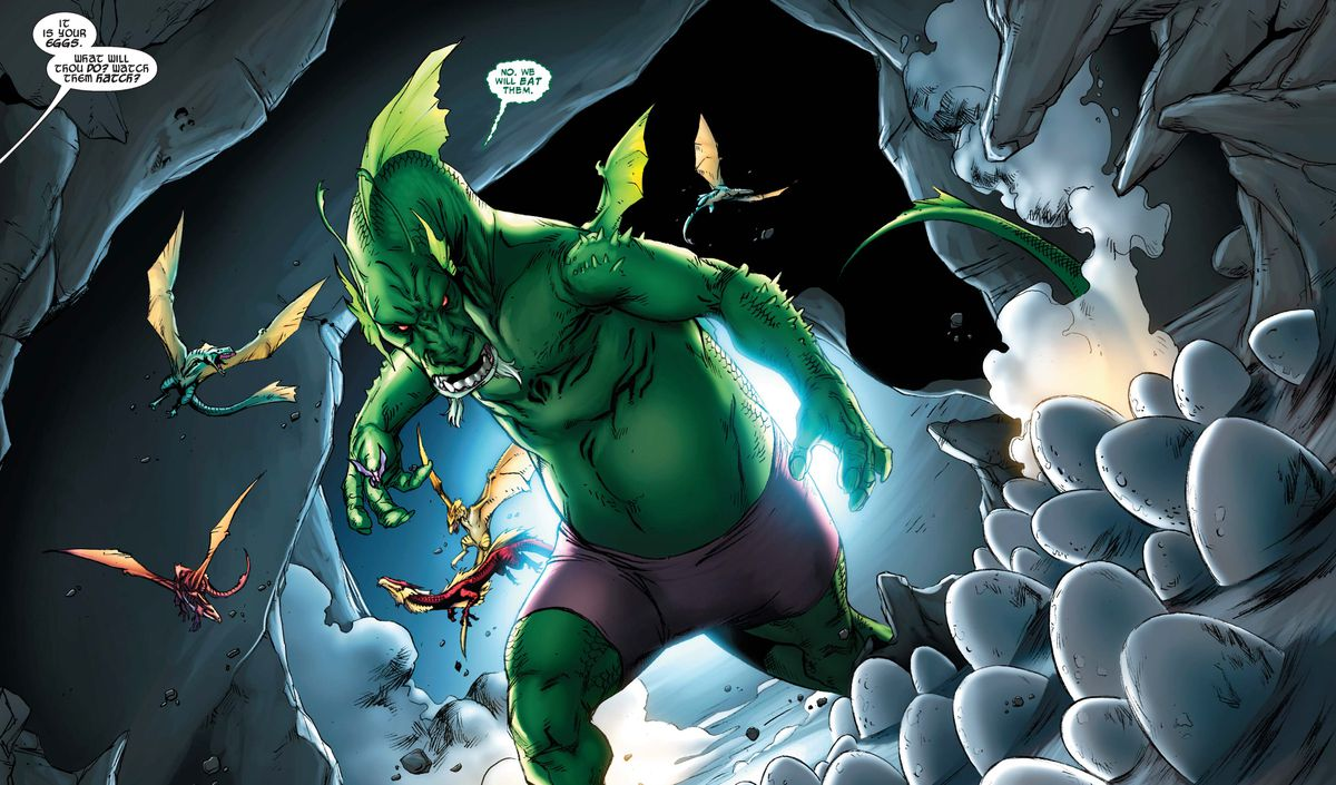 Fin Fang Foom, a huge, green, mildly human dragon monster wearing tight purple shorts, standing in a mysterious cave in Aveners Vs. Pet Avengers #3 (2010).