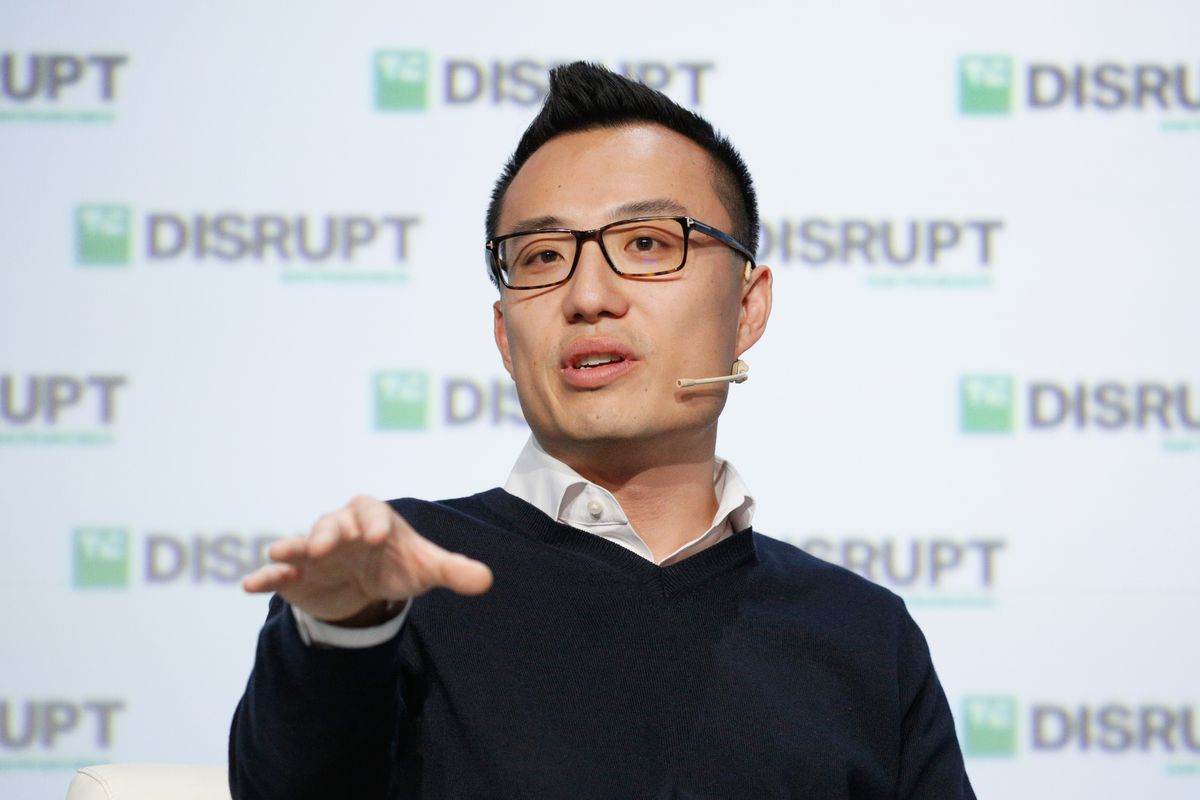 DoorDash CEO Tony Xu speaking at a conference.