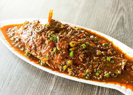 A plate of Chongqing-style spicy fish.