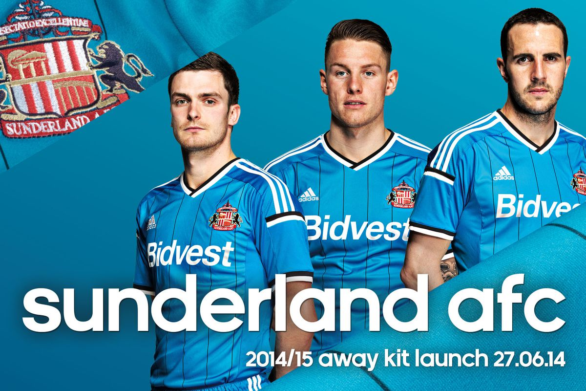 Adam Johnson, Connor Wickham and captain John O'Shea model the new away kit.