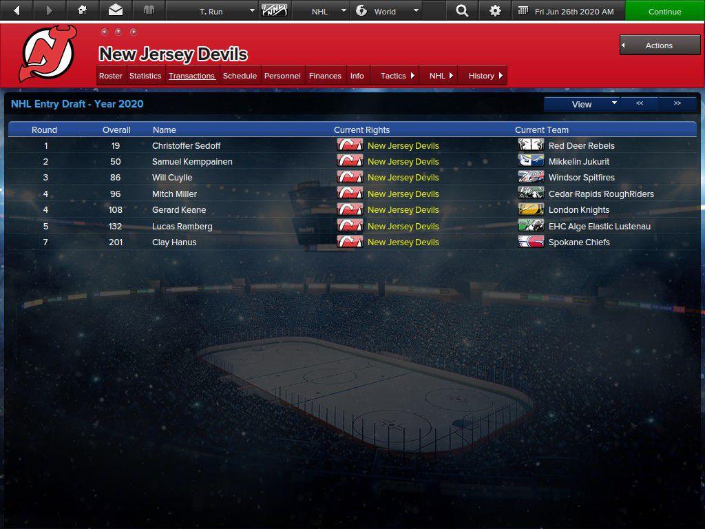 Devils 2020 Draft Class for Trial Run