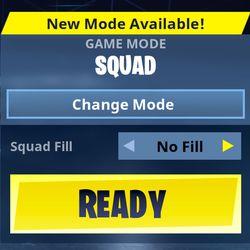 <em>Fortnite</em> Squad Fill parties as seen in the bottom right of the <em>Battle Royale </em>main menu