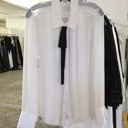 Silk chiffon top, $350