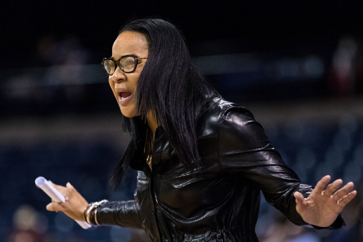 Mar 27, 2017; Stockton, CA, USA; South Carolina Gamecocks head coach Dawn Staley reacts during the game against the Florida State Seminoles during the second period in the finals of the Stockton Regional of the women's 2017 NCAA Tournament at Stockton Arena. Mandatory Credit: John Hefti-USA TODAY Sports