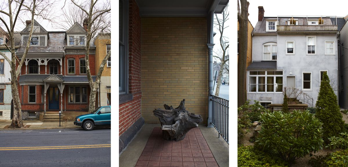 Photos of the outside of Carl Martinez's house: The front is brick with gray trim, a tree stump is sculpture on the front porch, the back is painted white and has a lush, green garden.