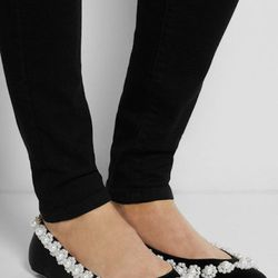 """<a href=""""http://www.net-a-porter.com/product/424283/Simone_Rocha/faux-pearl-embellished-satin-flats"""">Simone Rocha Faux Pearl-Embellished Flats</a>, $815: Classic black and white flats with a sweet pearl trim. [Photo: Simone Rocha]"""