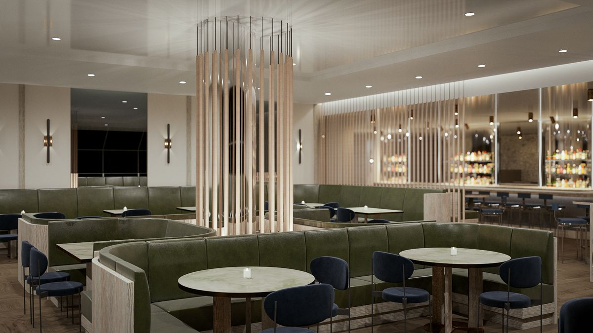 This rendering of the Freds at Barneys dining room features low olive-green banquettes, round tables, and a mirrored wall
