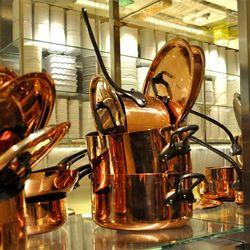 Copper pans at Bacchanal Buffet.