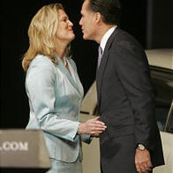Ann Romney greets her husband Gov. Mitt Romney before his presidential candidacy announcement at The Henry Ford Museum in Dearborn, Mich., Tuesday, Feb. 13, 2007.