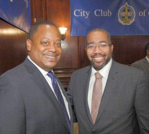 Brian Sleet (right) pictured with Ald. Roderick Sawyer (6th). | Provided by Roderick Sawyer
