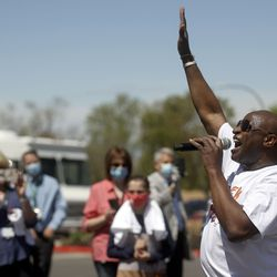 Alex Boyé sings for front-line medical staff in honor of Hospital Week outside of Lakeview Hospital in Bountiful on Tuesday, May 4, 2021.