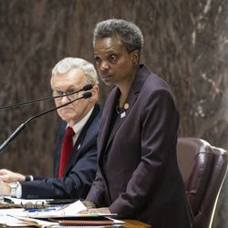 Mayor Lori Lightfoot presides over her first Chicago City Council meeting at City Hall, Wednesday morning, May 29, 2019.