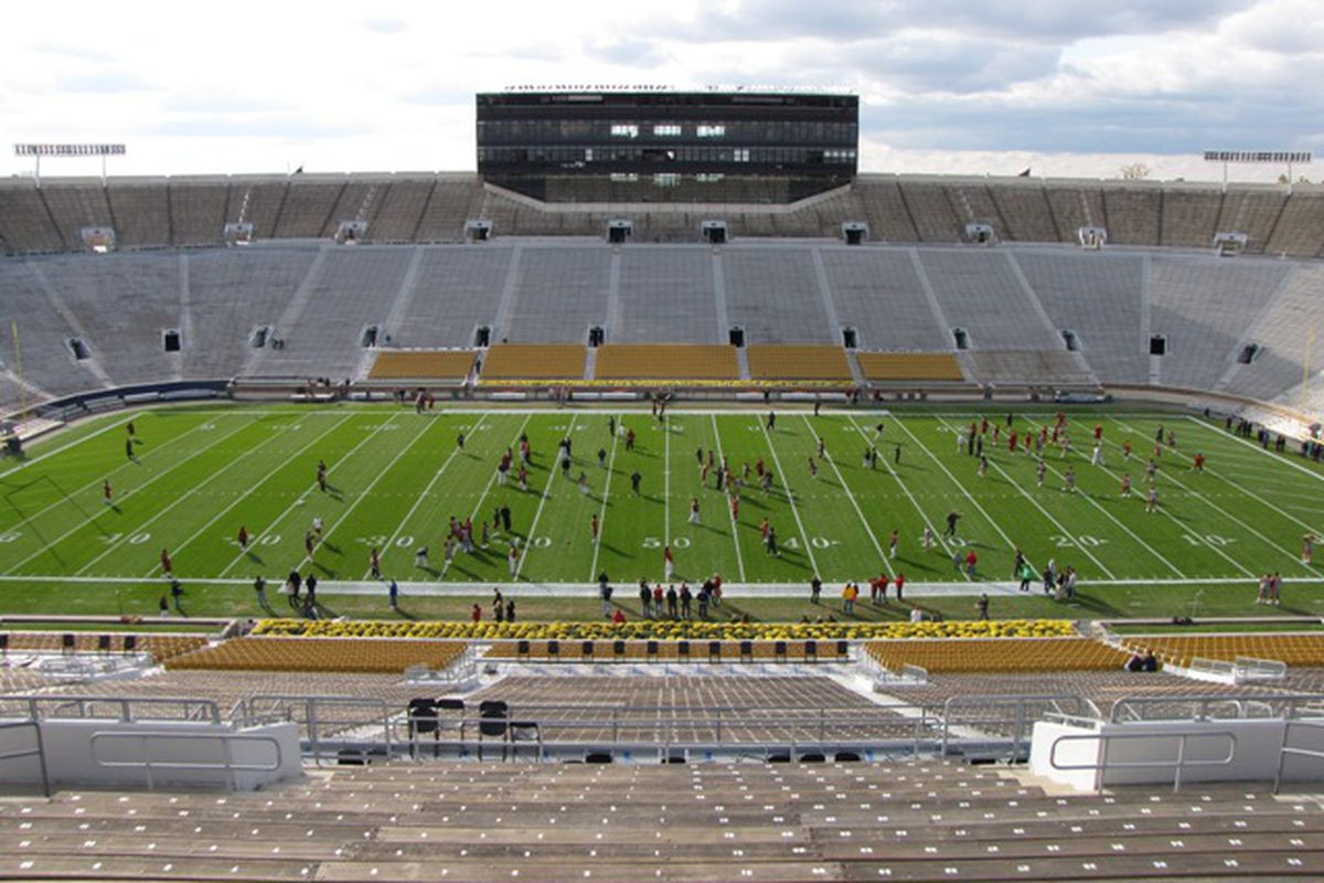 Most years, Notre Dame puts nothing on the field that isn't required except the end zone slash marks.