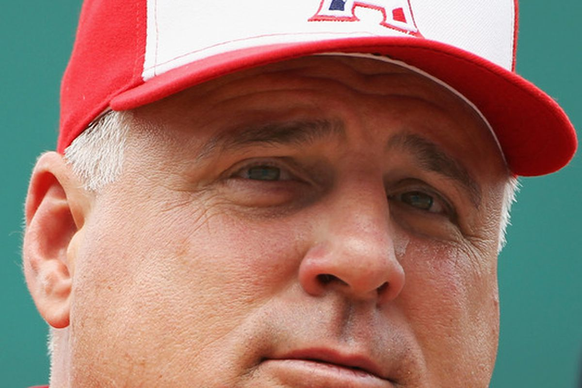 Manager Mike Scioscia #14 of the Los Angeles Angels of Anaheim.