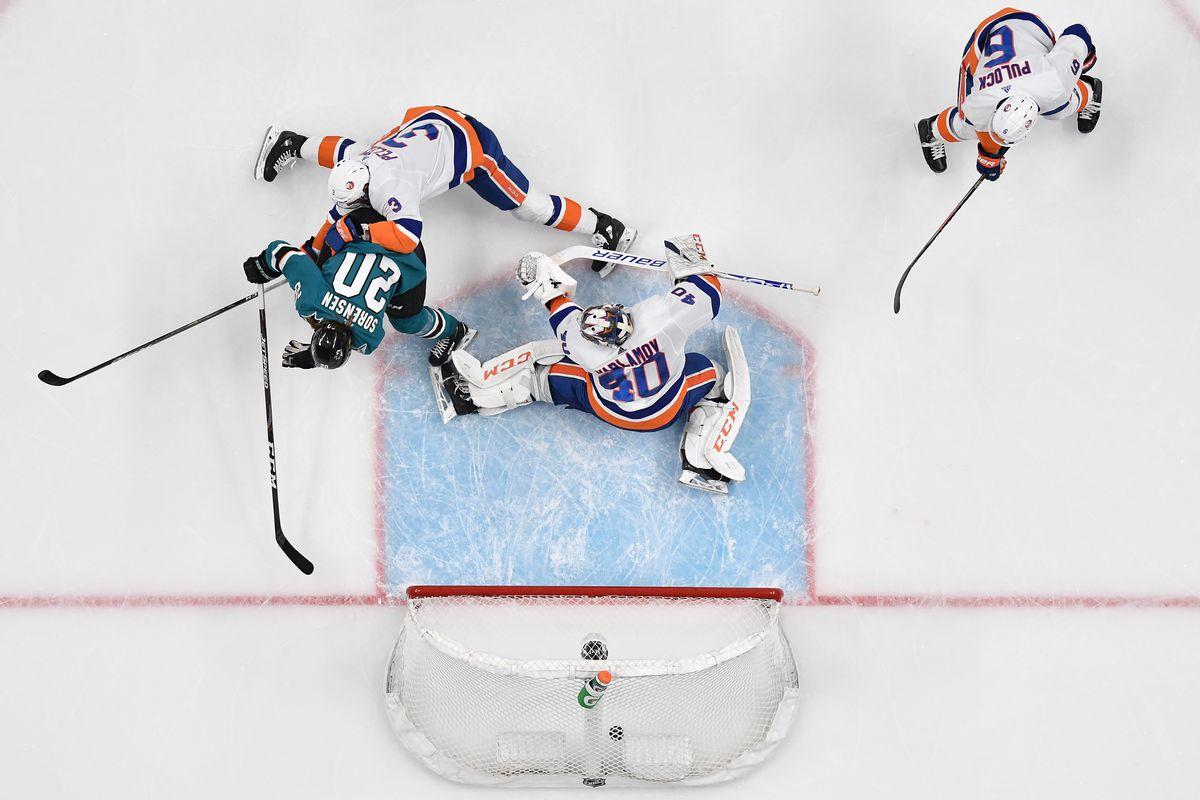 SAN JOSE, CA - NOVEMBER 23: Marcus Sorensen #20 of the San Jose Sharks scores against Semyon Varlamov #40 of the New York Islanders at SAP Center on November 23, 2019 in San Jose, California.
