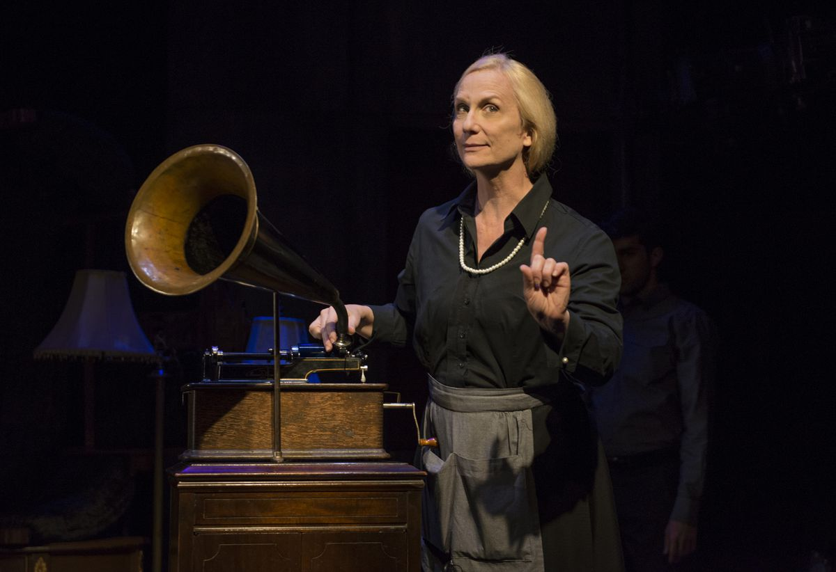 """Delia Kropp stars as Charlotte von Mahlsdorf in the About Face Theatre production of Doug Wright's play, """"I Am My Own Wife."""" (Photo: Michael Brosilow)"""