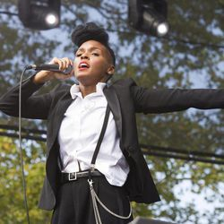 """Janelle Monae performs at the """"Made In America"""" music festival on Saturday, Sept. 1, 2012, in Philadelphia, PA."""