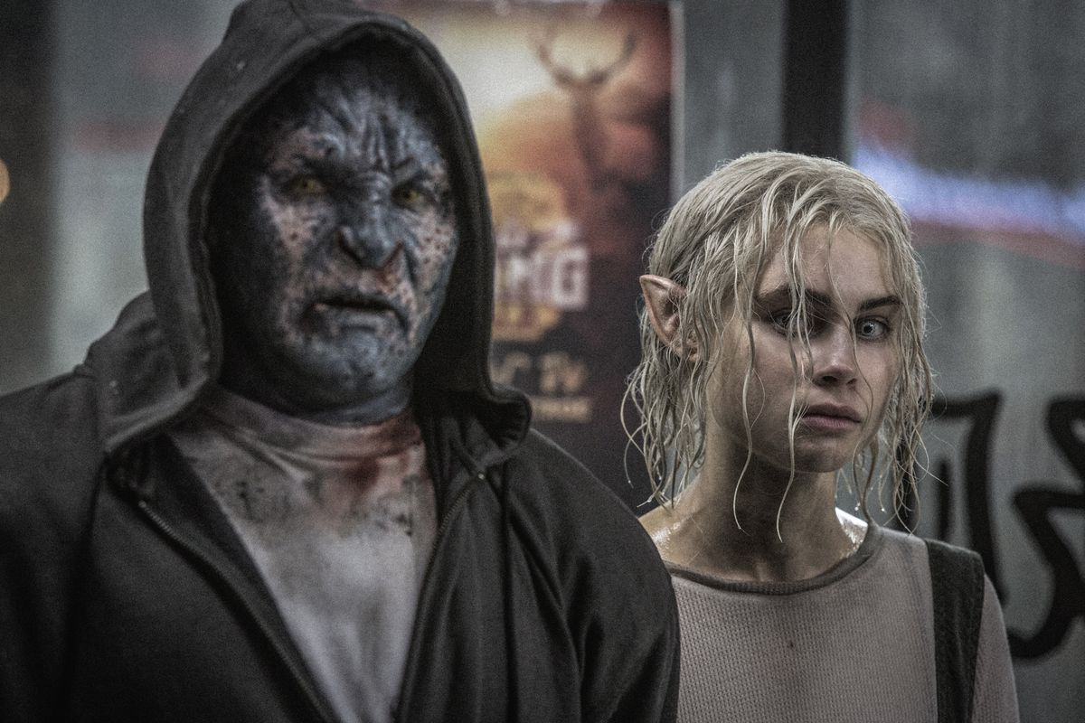 Joel Edgerton and Lucy Fry in Bright