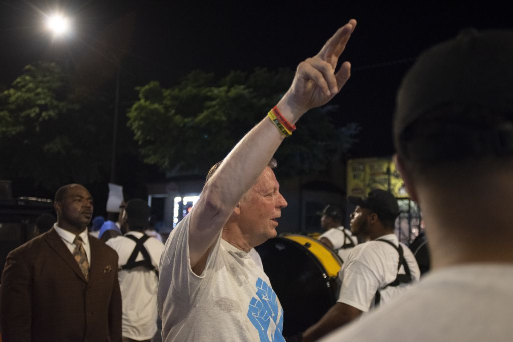 At the rally featuring Parkland students on Friday, Rev. Pfleger urged 1,000 people participate in the shutting down of the Dan Ryan on July 7. | Colin Boyle/Chicago Sun-Times