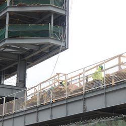3:03 p.m. A view showing how narrow the bleacher patio level will still be, behind left field -