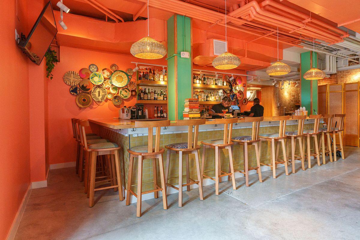 The orange bar at Immigrant Food+