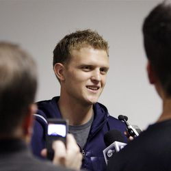 BYU basketball player and recently returned LDS missionTyler Haws talks with media in Provo  Wednesday, April 25, 2012.