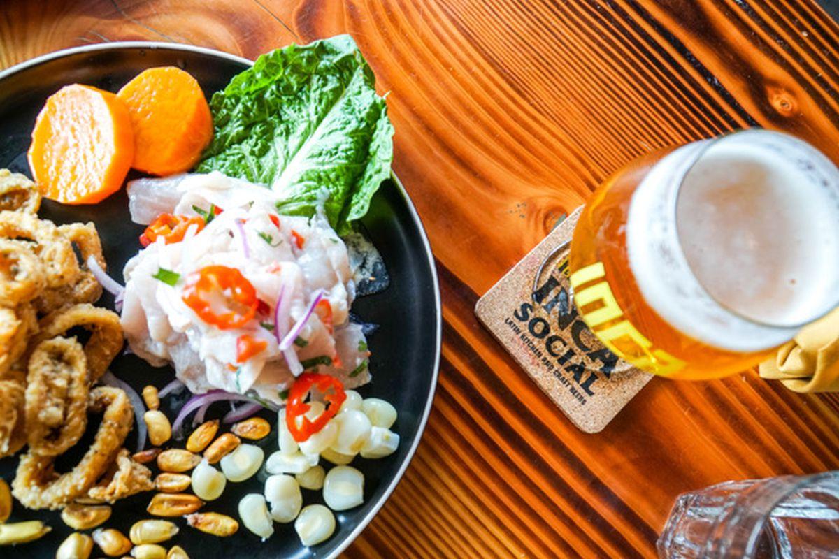 Calamari and draft brews at Inca Social