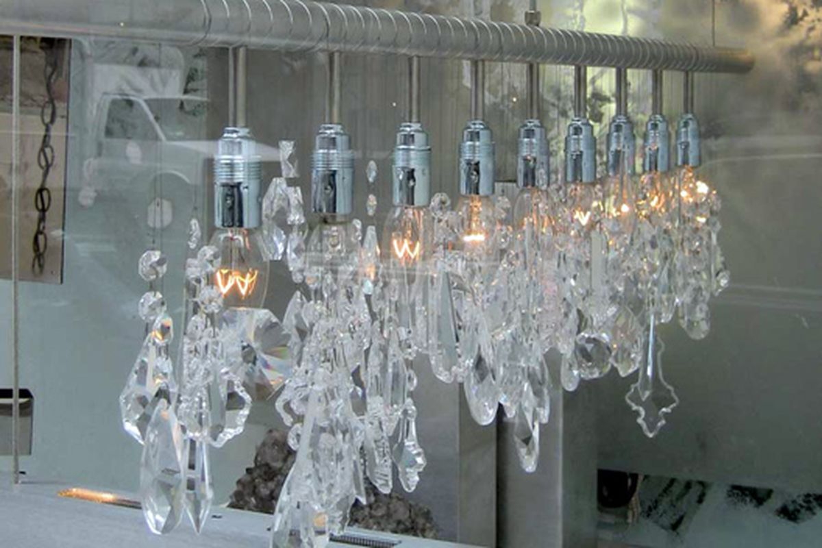 """Icy chandelier at ABC Home via <a href=""""http://www.flickr.com/photos/kstrahmx/4187019517/in/pool-rackedny/"""">Kurt Strahm</a>/Racked Flickr Pool"""