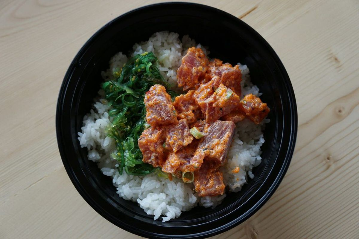 Top-down view of a poke bowl from Ono Poke in Edmonds.