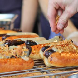 Smoked blood sausage hot dogs at the final dinner