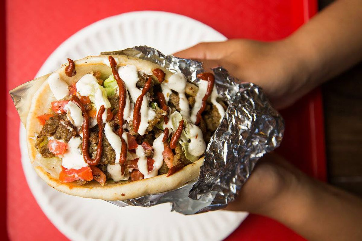A pita sandwich from Halal Guys