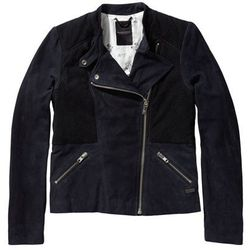 "<b>Maison Scotch</b>, <a href=""http://webstore-us.scotch-soda.com/amsterdams-blauw/suede-biker-jacket/14260615656.html?dwvar_14260615656_color=navy"">$499</a>"