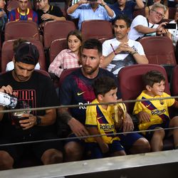 Messi, Suarez and families watch on as Barca crush Betis