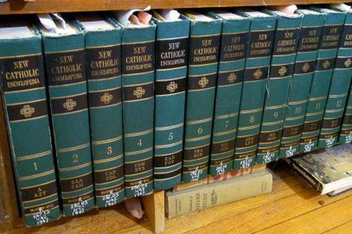 "The last paper encyclopedias known to man. (via <a href=""http://blog.mlive.com/grpress/2008/05/large_ENCYCLOPEDIAS%20catholic.jpg"">blog.mlive.com</a>)"
