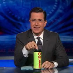 """<a href=""""http://eater.com/archives/2010/11/17/colbert-introduces-his-own-caffeinated-alcohol-drink-czurrrre.php"""" rel=""""nofollow"""">Colbert Launches a Caffeinated Alcohol Drink: C-Zurrrre</a><br />"""
