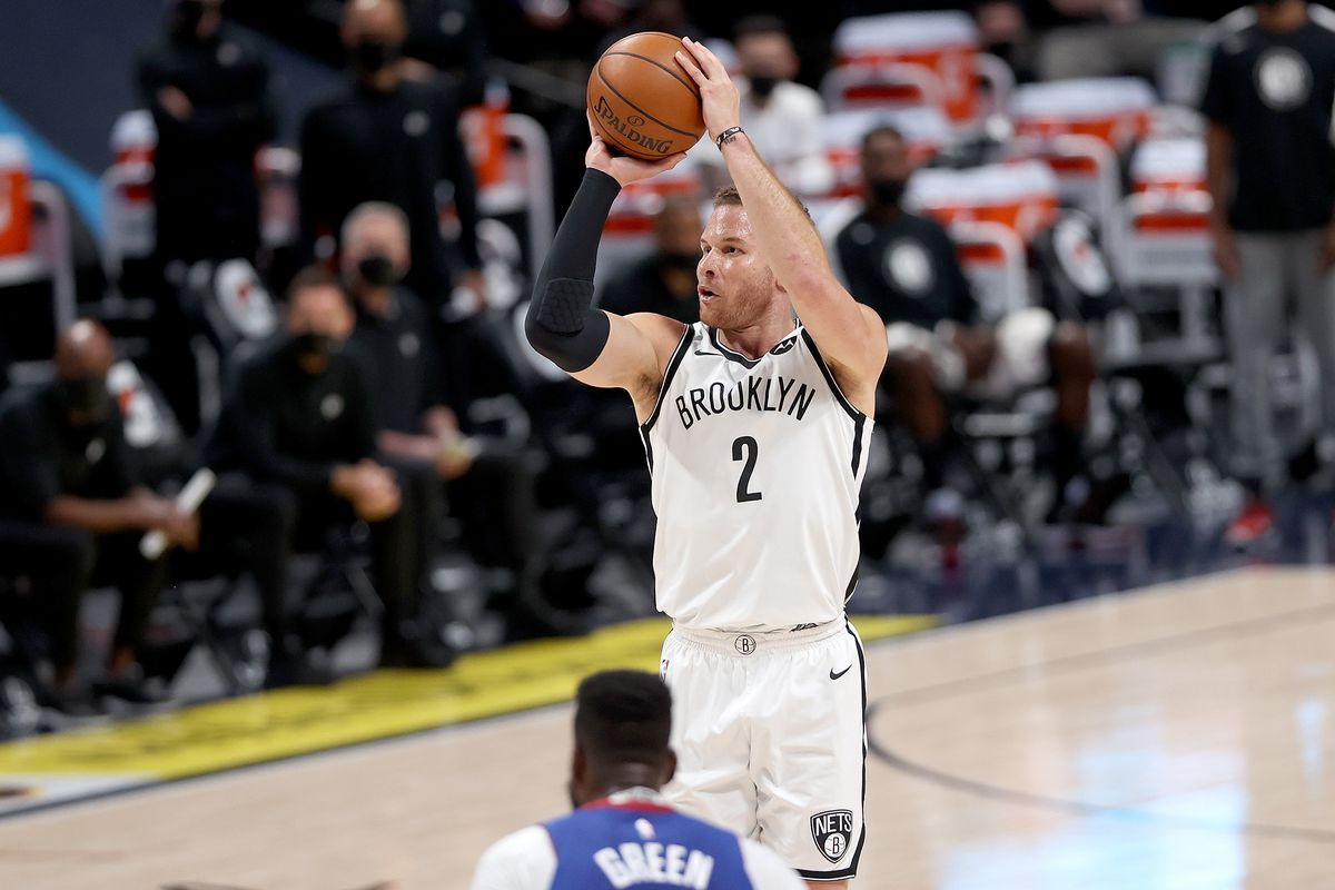 Blake Griffin #2 of the Brooklyn Nets puts up a shot over JaMychal Green #0 of the Denver Nuggets in the third quarter at Ball Arena on May 08, 2021 in Denver, Colorado.