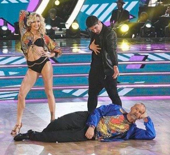 David Ross posted this image of a scene from his '90s-inspired cha-cha with partner Lindsay Arnold, on Instagram Monday night. | INSTAGRAM
